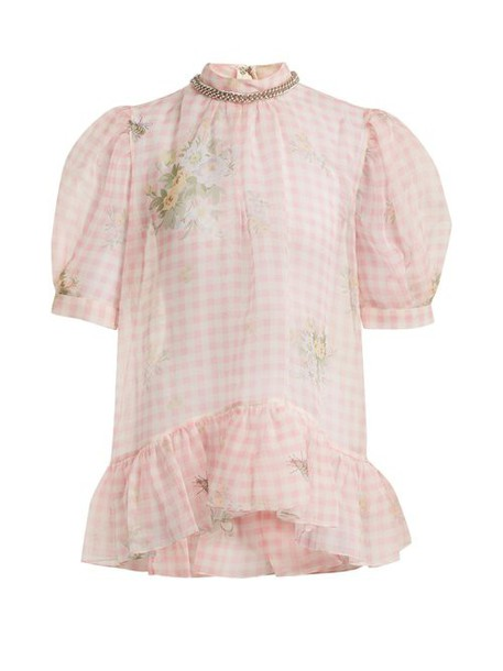 Christopher Kane - Floral Print Gingham Silk Organza Top - Womens - Pink White