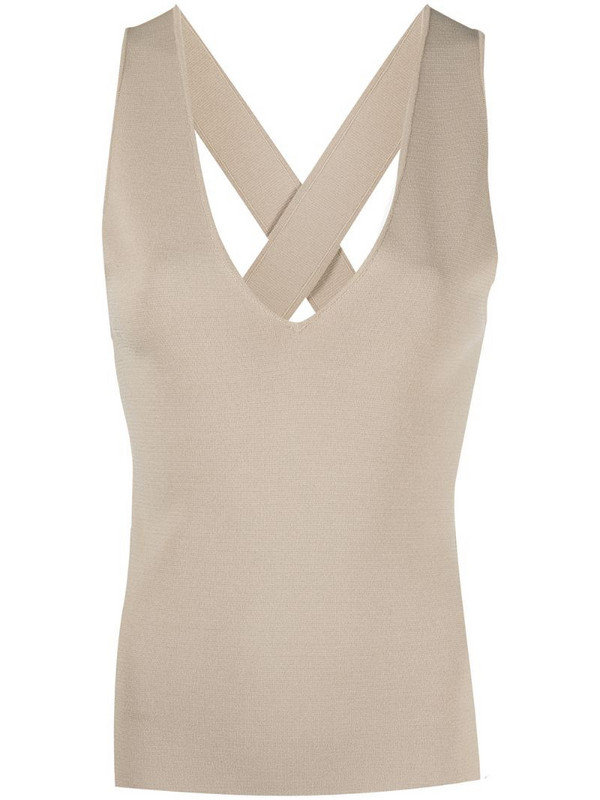 P.A.R.O.S.H. v-neck sleeveless tank top in neutrals