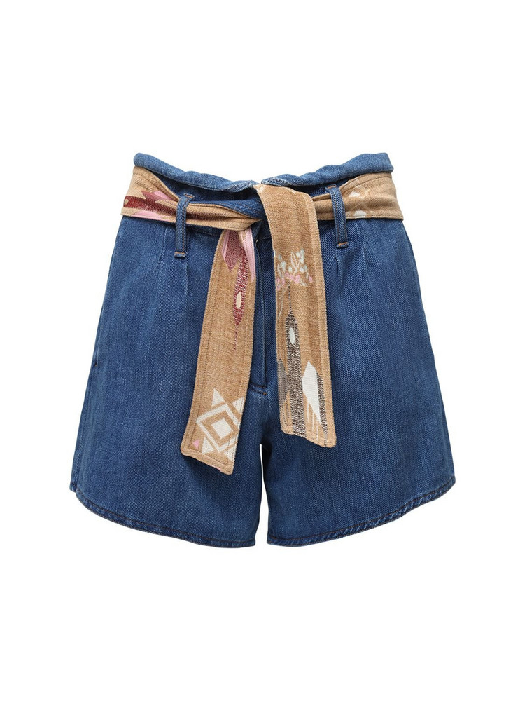 FORTE FORTE Cotton Denim Shorts W/ Belt in blue