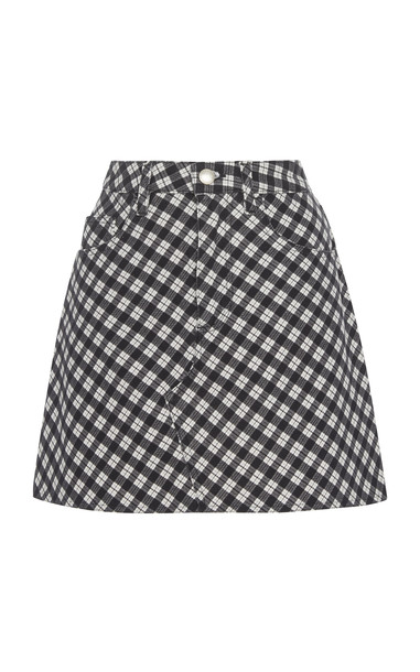 ALEXACHUNG Checkered Cotton-Blend Mini-Skirt Size: 6