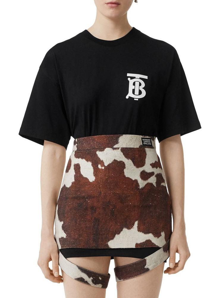 BURBERRY Oversize Tb Logo Cotton Jersey T-shirt in black