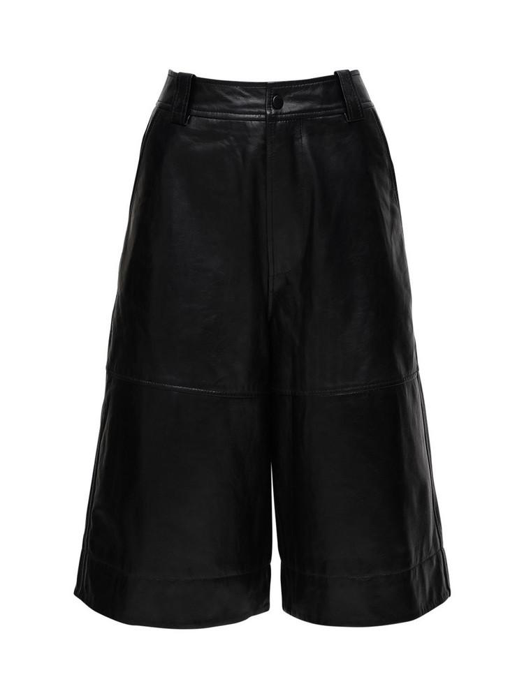 GANNI Leather Culottes in black