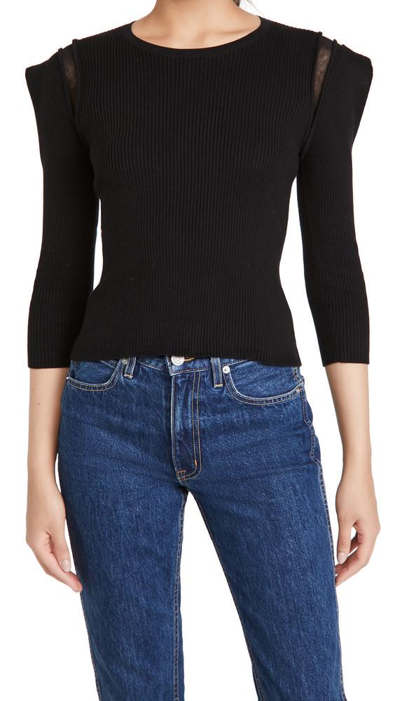 Autumn Cashmere Square Shoulder Crew Sweater in black