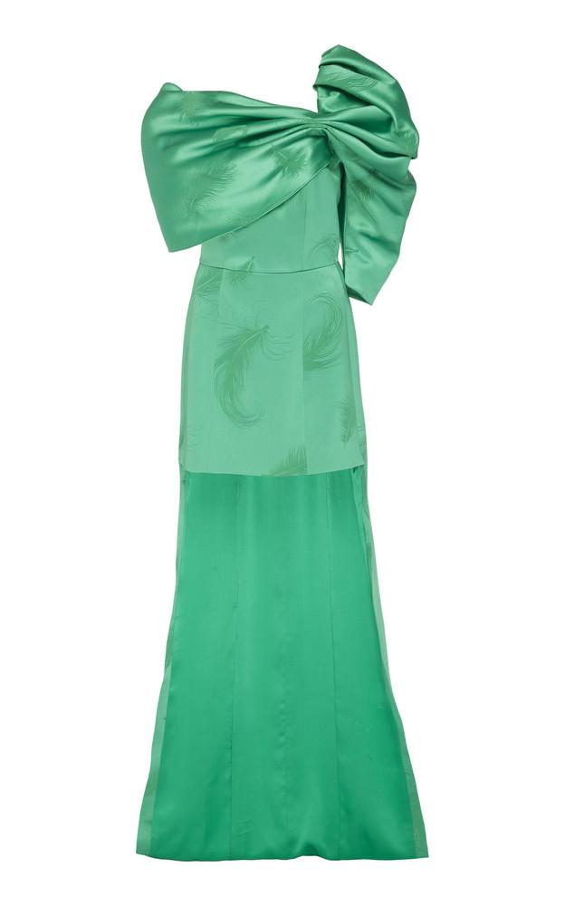 Hellessy Yayoi One-Shoulder Satin-Effect Mini Dress in green