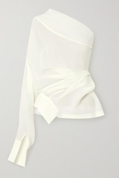 A.W.A.K.E. MODE - One-shoulder Draped Chiffon Blouse - Ivory