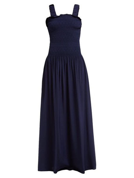 Heidi Klein - Smocked Bodice Silk Maxi Dress - Womens - Navy