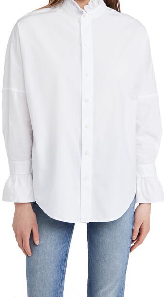 Alex Mill Easy Ruffle Shirt in white