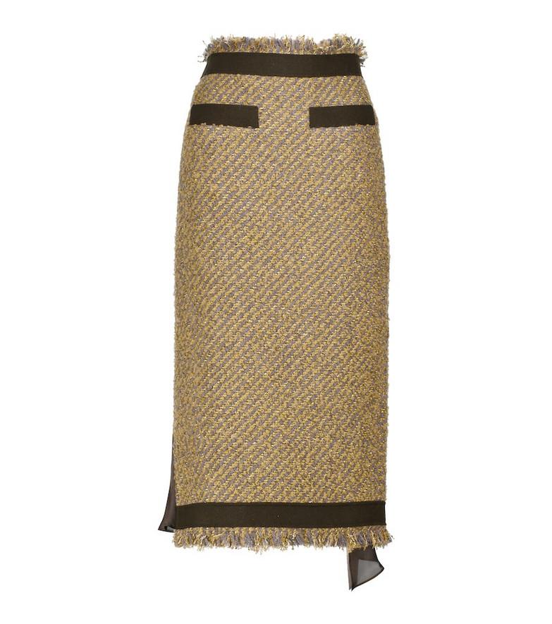 sacai Striped wool-blend pencil midi skirt