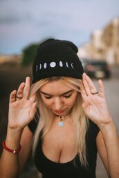 hat,moon,moon beanie,moon phases beanie,moon phases,crescent moon,moon fashion,witchy,witchy attire,black and white,moon hat,beanie,witch