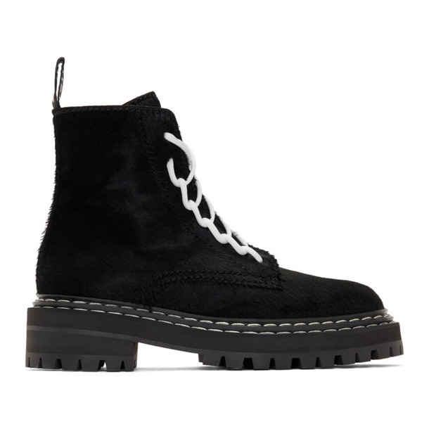 Proenza Schouler Black Pony Hair Walking Boots