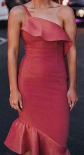 dress,red,red dress,one shoulder,one shoulder dress,midi dress