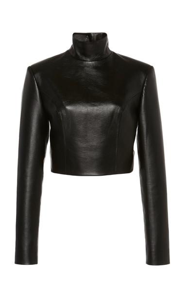 MATÉRIEL Faux Leathr Black Long Sleeve Turtleneck With Buttoned Back