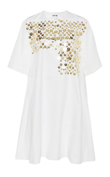 Maison Rabih Kayrouz Embellished Poplin Dress Size: 36 in white