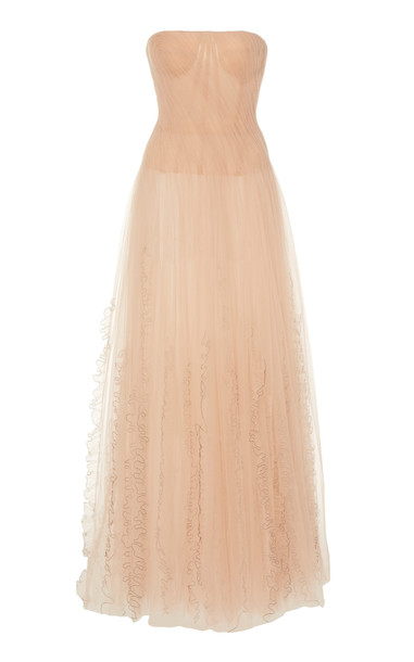 Jason Wu Collection Draped Tulle Strapless Gown Size: 0 in pink