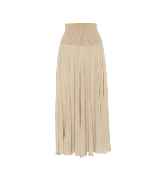 Ryan Roche Cashmere high-rise midi skirt in beige