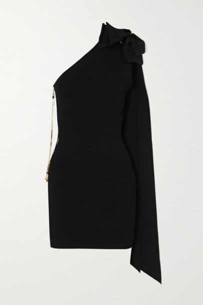 AZ Factory - Mybody One-shoulder Bow-detailed Stretch-knit Mini Dress - Black