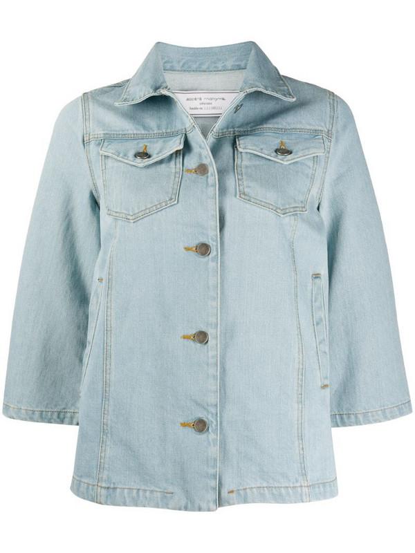 Société Anonyme cropped sleeve denim jacket in blue