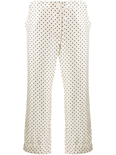 La Prestic Ouiston cropped polka dot trousers in neutrals