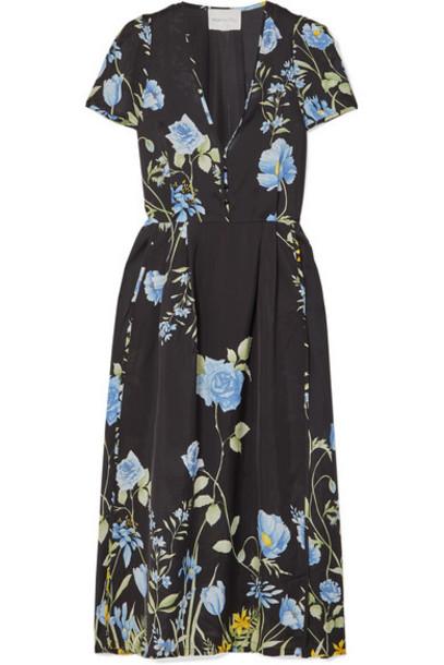 alice McCALL - Flower Girl Floral-print Crepe De Chine Midi Dress - Black