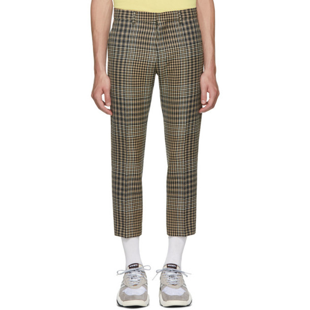 AMI Alexandre Mattiussi Black & Beige Checkered Cropped Trousers