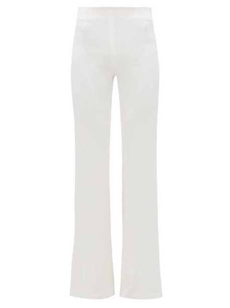 Galvan - Flared Leg Satin Crepe Trousers - Womens - White