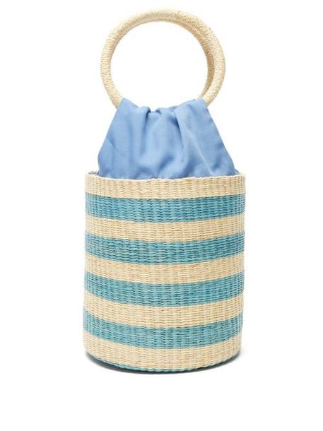 Sensi Studio - Striped Straw Bucket Bag - Womens - Blue Multi