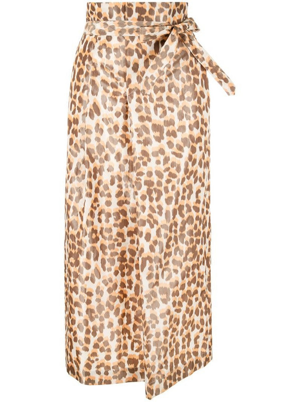 Rochas front knot straight skirt in brown