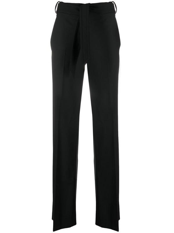 Neil Barrett belted-waist flared trousers in black