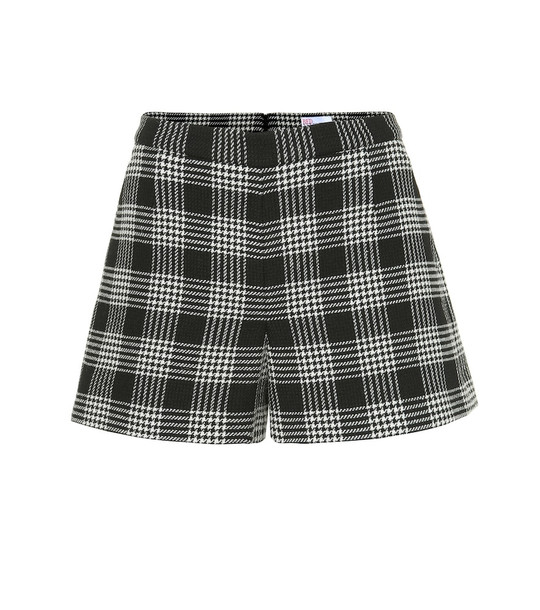 REDValentino Checked cotton and wool-blend shorts in black