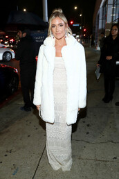 coat,all white everything,gown,wedding dress,kristin cavallari