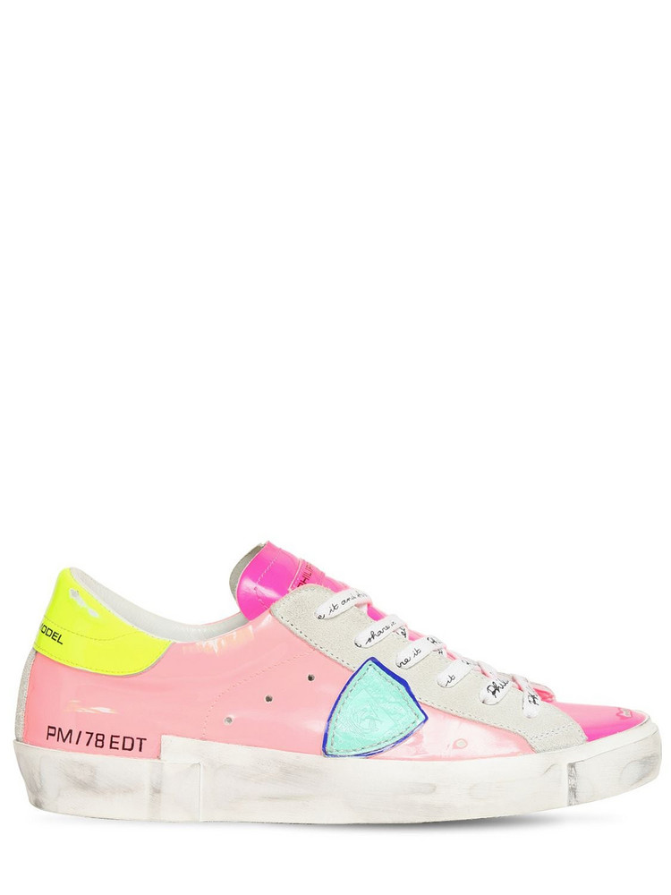 PHILIPPE MODEL Paris Patent Leather Sneakers in pink