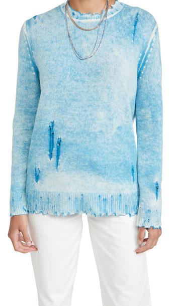 R13 Faded Cashmere Crew Neck Sweater in blue