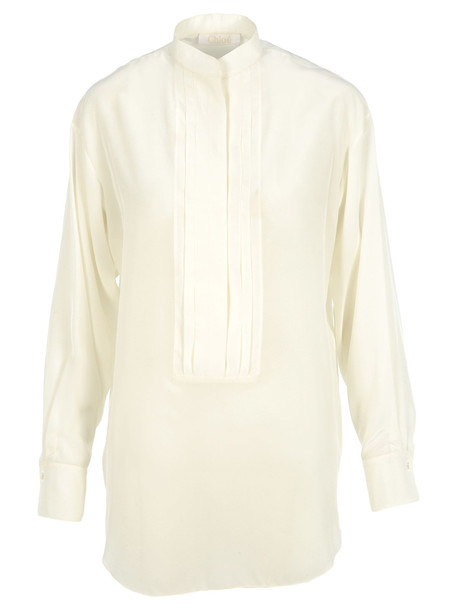 Chloé Chloe Pleated Plastron Silk Shirt