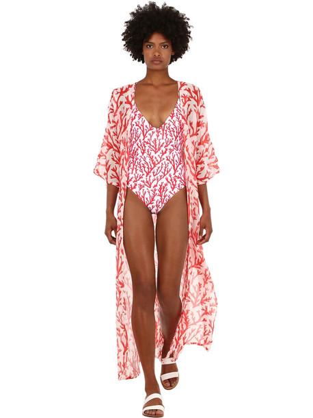 ALICIA SWIM Long Coral Print Chiffon Kimono in red / white