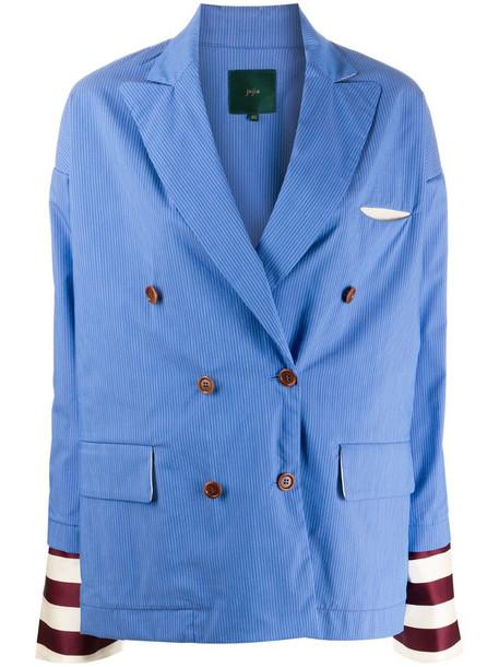 Jejia striped-detail double-breasted blazer in blue