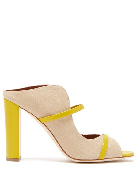Malone Souliers - Norah Canvas And Leather Mules - Womens - Beige
