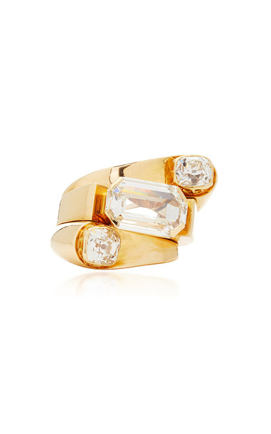 Simon Teakle Retro Diamond Cocktail Ring in gold