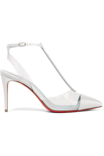 Christian Louboutin - Nosy Strass 85 Crystal-embellished Satin And Pvc Pumps - White