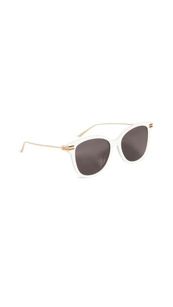 Bottega Veneta Shiny Solid Ivory Round Sunglasses