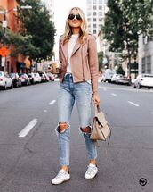 jacket,pink jacket,biker jacket,ripped jeans,high waisted jeans,white sneakers,bag,white t-shirt