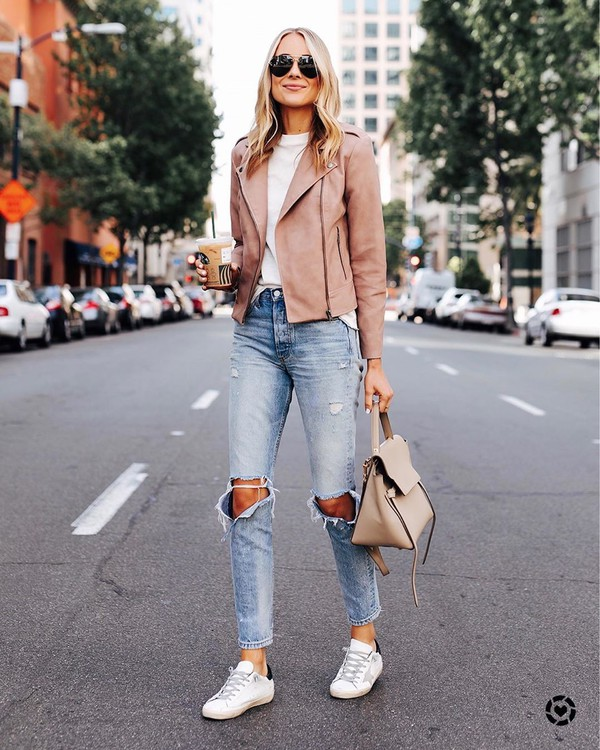 jacket pink jacket biker jacket ripped jeans high waisted jeans white sneakers bag white t-shirt