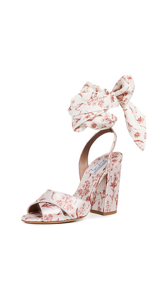 Tabitha Simmons x Johanna Ortiz Connie Wrap Sandals in ecru / multi