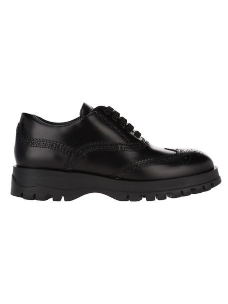Prada Brogue Laced Shoes in black