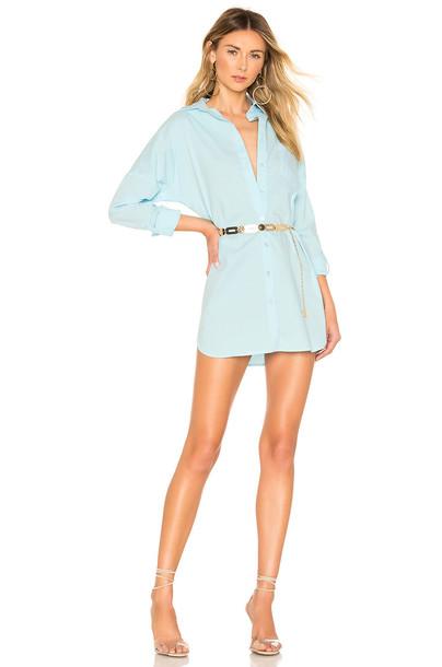 superdown Miranda Button Up Dress in blue