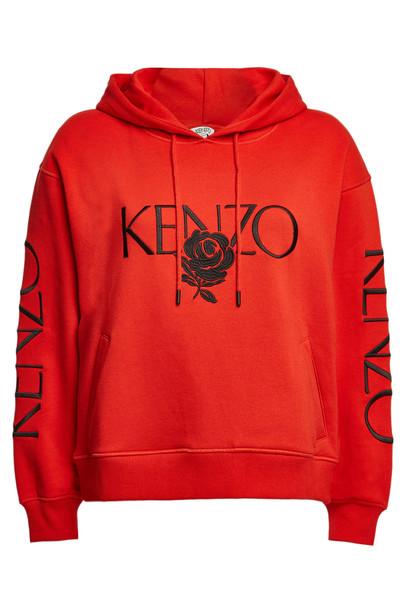 Kenzo Cotton Hoodie with Logo Embroidery  in red