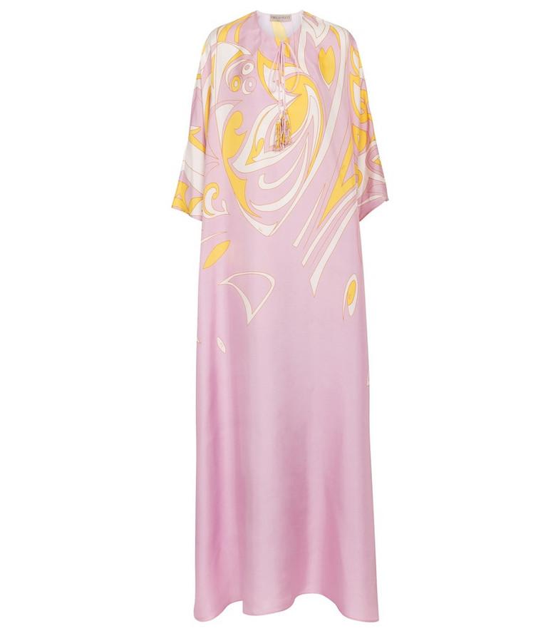 Emilio Pucci Printed silk twill kaftan in pink