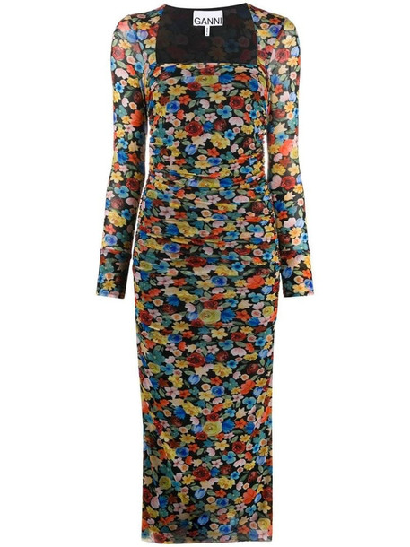 GANNI floral-print ruched midi dress in black