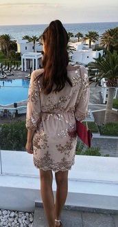 dress,rose gold,flowers,midi dress,glitter