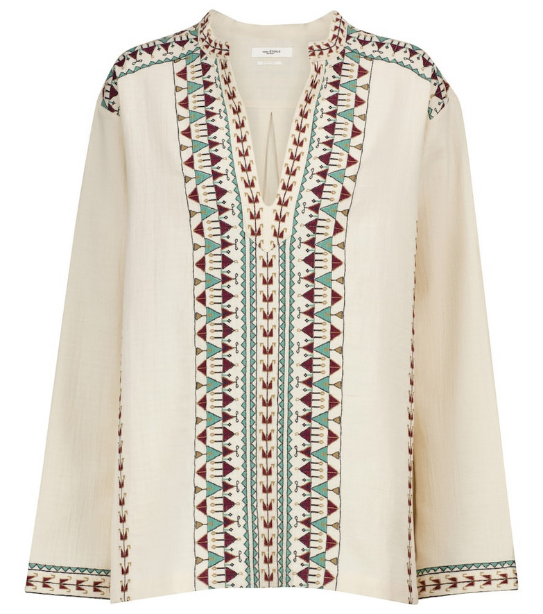 Isabel Marant, Étoile Ikaria embroidered cotton blouse in beige