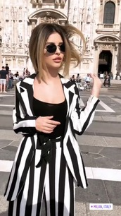 pants,black and white,striped pants,stripes blazer black white.